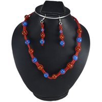 Round Beaded Jaipur Rajasthan India Carnelian & Blue Chalcedony 925 Sterling Silver Handmade Jewelry Manufacturer Necklace Set