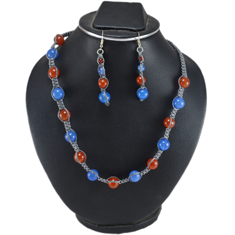 Jaipur Rajasthan India Carnelian & Blue Chalcedony 925 Sterling Silver Handmade Jewelry Manufacturer Necklace & Earring Set