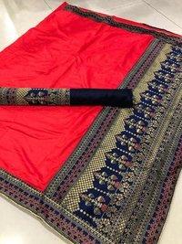 Pure Sana Silk Saree With Jacquard Work