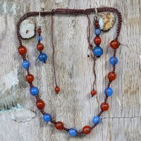 Handmade Jewelry Manufacturer 925 Sterling Silver Carnelian & Blue Chalcedony Necklace Set Jaipur Rajasthan India