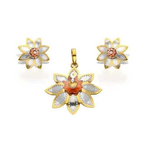 Beautiful Flower Shape Structure Pendant Set