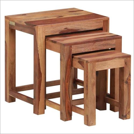 Hard Wood Rect. Set of 3 Stools
