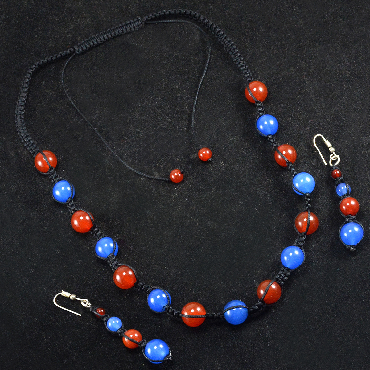 Handmade Jewelry Manufacturer- 925 Sterling Silver- Carnelian & Blue Chalcedony- Necklace & Earring Set- Jaipur Rajasthan India