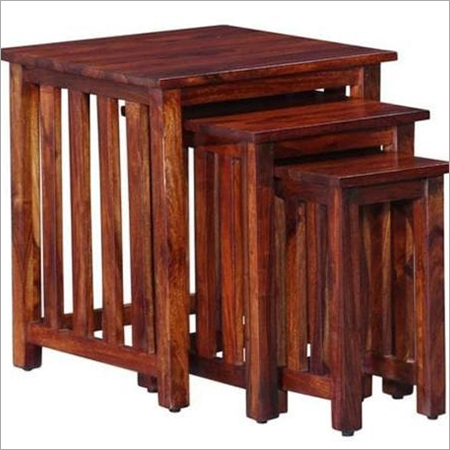 Hardwood Square Set of 3 Stools