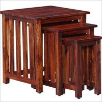 Hardwood Square Set of 3 Nesting Tables