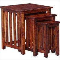 Hardwood Square Set of 3 Nesting Tables