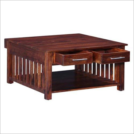 Solid Wood Strip Design Center Table with 4 Drawers