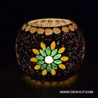 Antique Mosaic Design Glass T-Light Candle Holder