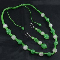 Handmade Jewelry Manufacturer Green Jade & Rose Quartz 925 Silver Necklace & Earring Set With Green Cord Jaipur Rajasthan India