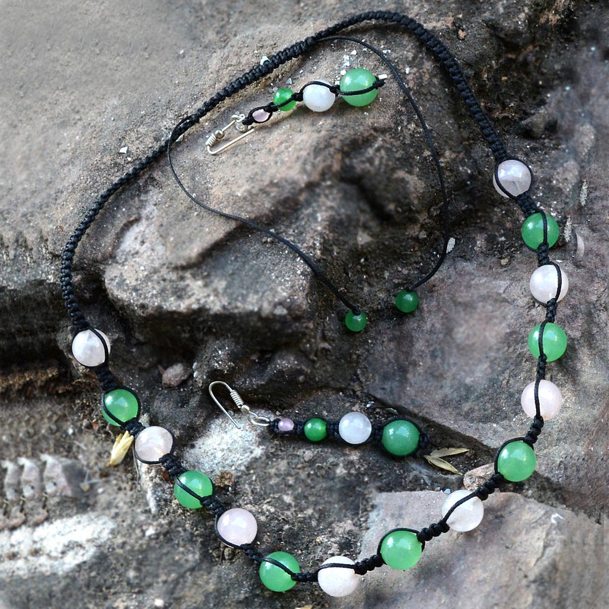 4-10mm Beaded Handmade Jewelry Manufacturer Green Jade & Rose Quartz 925 Sterling Silver Jaipur Rajasthan India Necklace Set