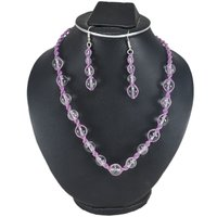 Beaded Crystal Quartz Handmade Jewelry Manufacturer 925 Sterling Silver Necklace Set Jaipur Rajasthan India With Purple Cord