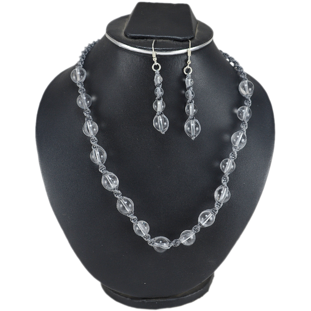 Jaipur Rajasthan India Gray Cord With Crystal Quartz 925 Sterling Silver Handmade Jewelry Manufacturer Necklace & Earring Set