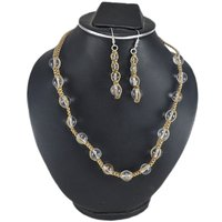Jaipur Rajasthan India Crystal Quartz 4-10mm Beaded 925 Sterling Silver Handmade Jewelry Manufacturer Necklace & Earring Set