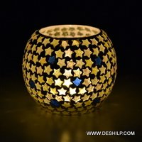Star Mosaic Shape Glass Candle Holder