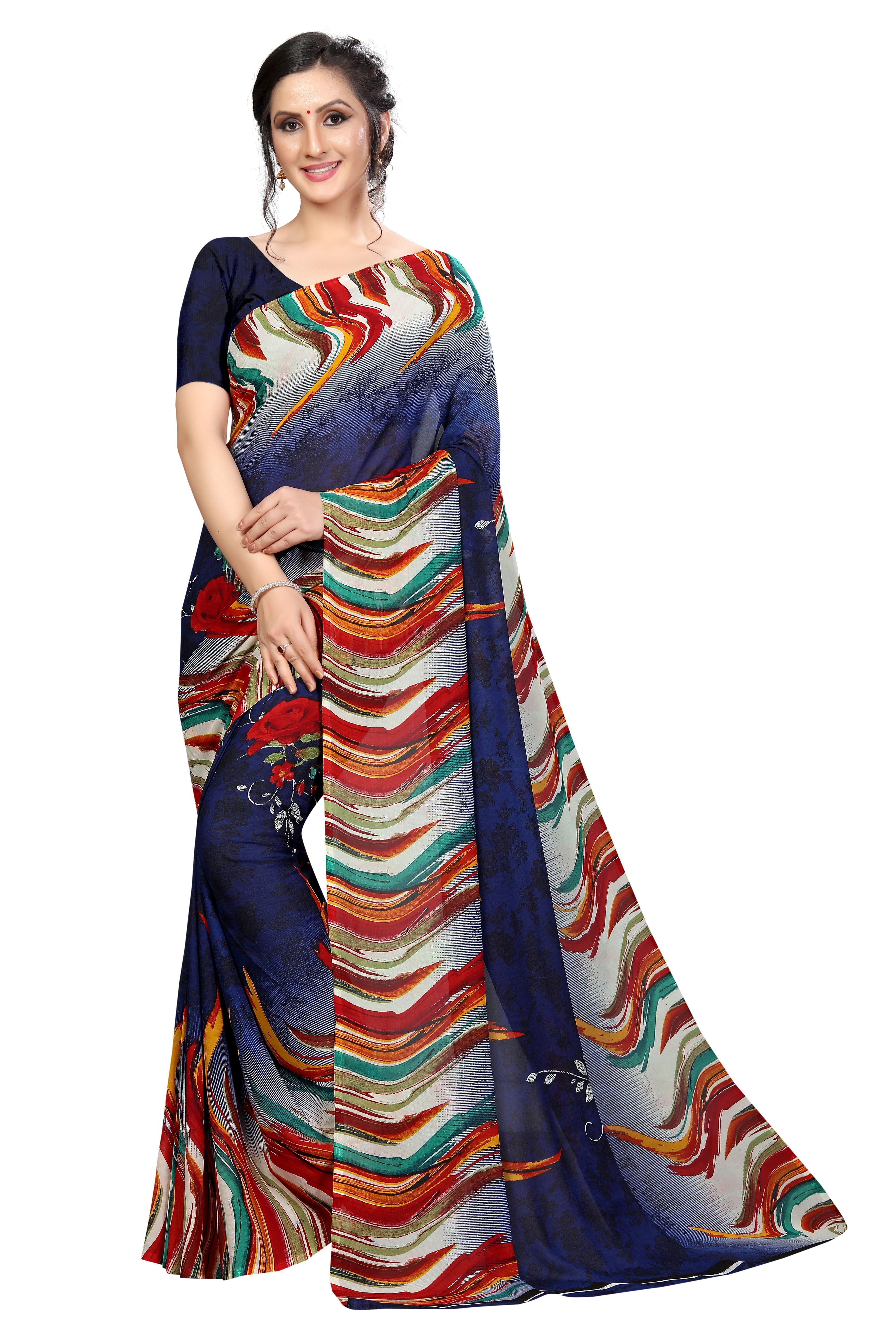 New Stylist Bollywood Printed Georgette Saree