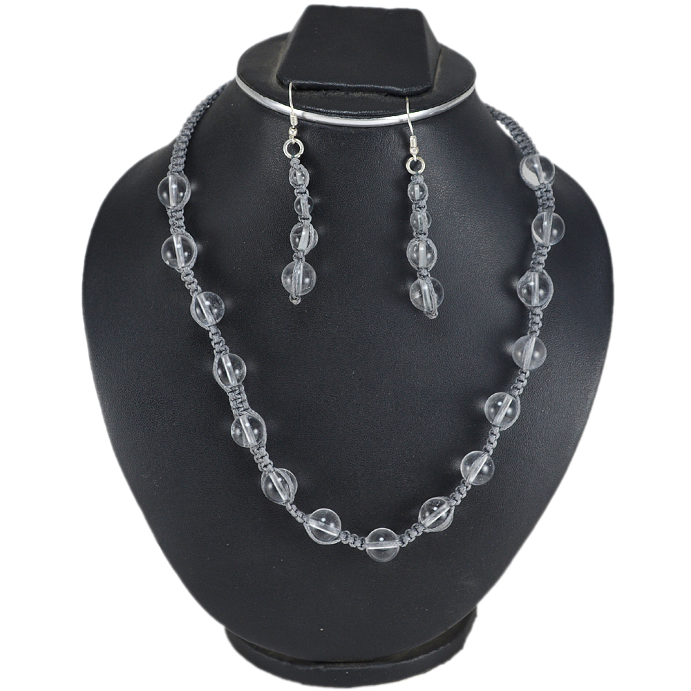 Jaipur Rajasthan India Crystal Quartz 925 Sterling Silver Necklace & Earring Set With Gray Cord Handmade Jewelry Manufacturer