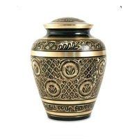 Brass Urn Black Engraved