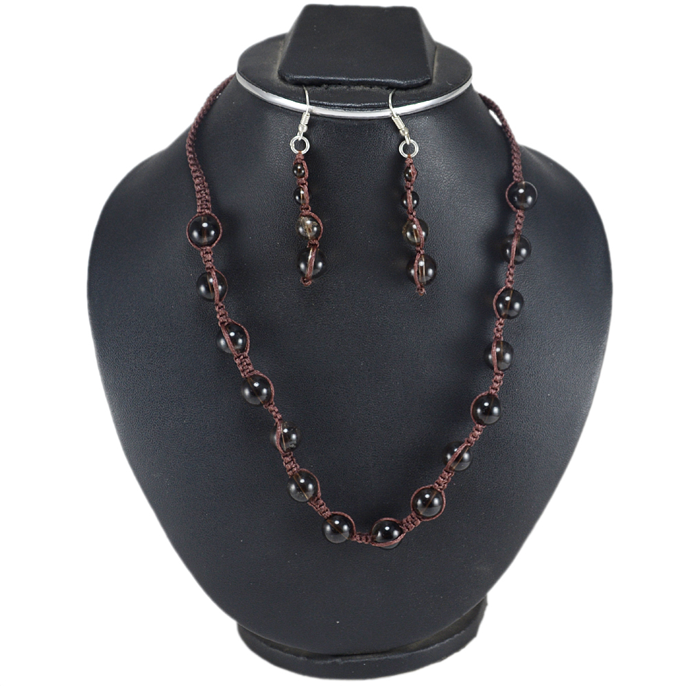 Jaipur Rajasthan India 4-10mm Beads Smoky Quartz 925 Sterling Silver Adjustable Necklace Set Handmade Jewelry Manufacturer