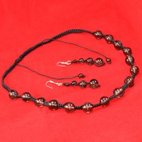 Wholesale- Handmade Jewelry Manufacturer Black Cord With Smoky Quartz 925 Sterling Silver Necklace Set Jaipur Rajasthan India
