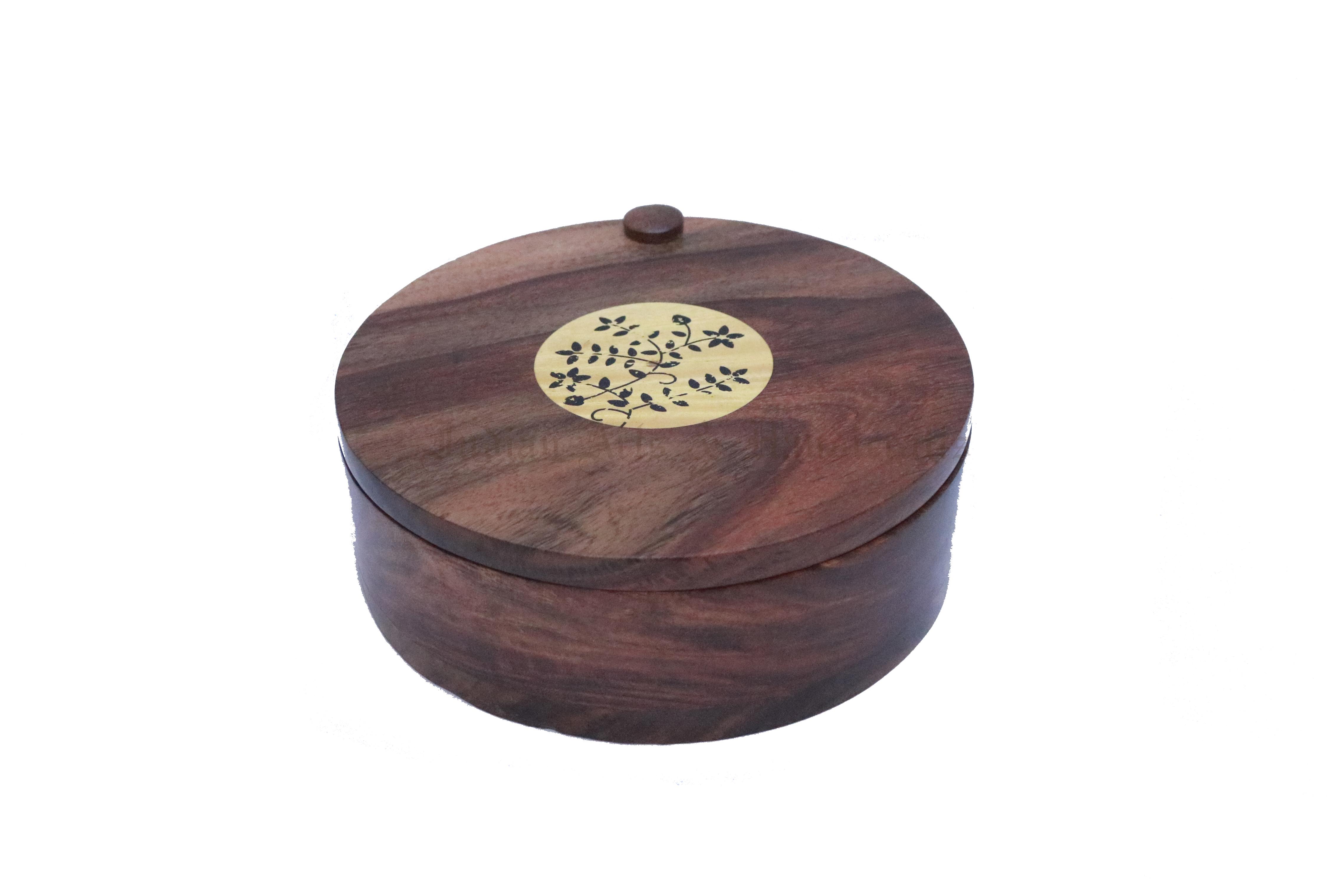 Round Wooden Spice Box