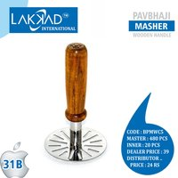 Stainless Steel Vegetable Potato Masher / Pav Bhaji Masher with Wooden Handle