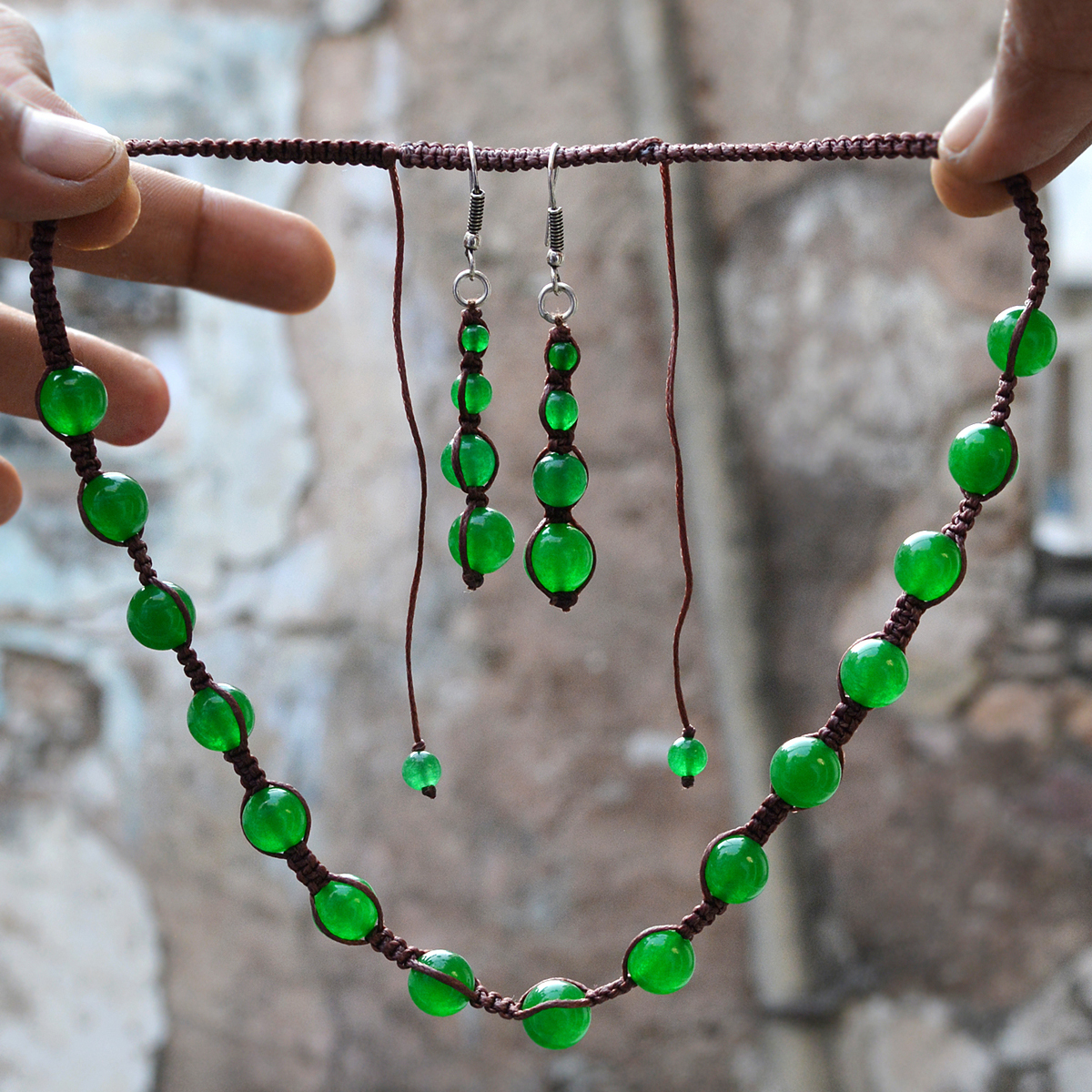 Fantastic- Jaipur Rajasthan India 925 Sterling Silver- Green Jade- Beaded- Handmade Jewelry Manufacturer Necklace & Earring Set