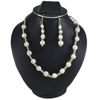 Handmade Jewelry Manufacturer 4-10mm Beaded 925 Sterling Silver Howlite Beauiful Jaipur Rajasthan India Necklace Set