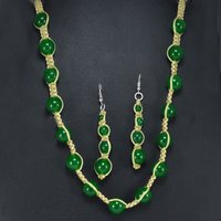 Jaipur Rajasthan India Yellow Cord 925 Sterling Silver Green Jade Handmade Jewelry Manufacturer Necklace & Earring Set