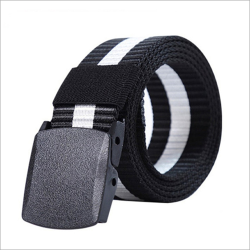 Mens Nylon White Striped Belt