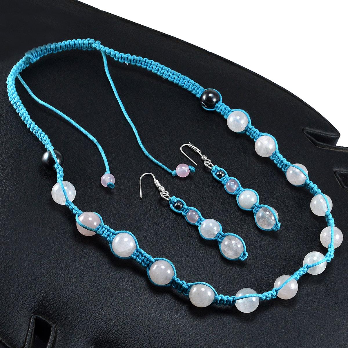 Handmade Jewelry Manufacturer Rose Quartz & Hematite 925 Silver Adjustable Jaipur Rajasthan India Necklace & Earring Set