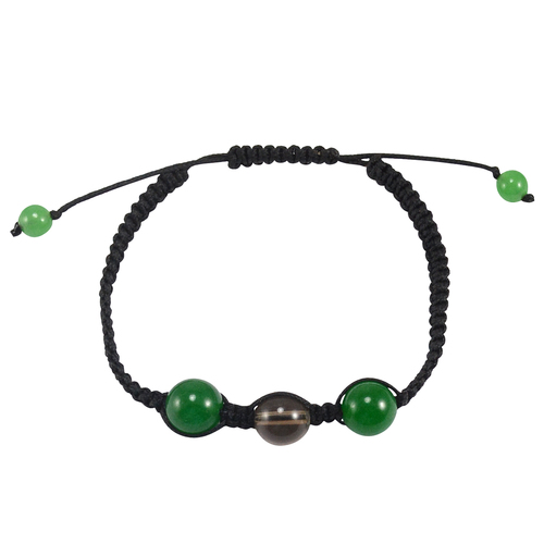Handmade Jewelry Manufacturer 5-10mm Beaded Green Jade & Smoky Quartz Bracelet With Black Cord Jaipur Rajasthan India