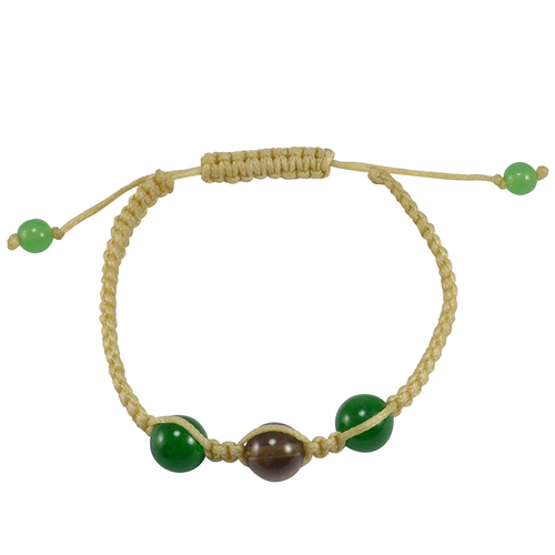 Yellow Cord With Jaipur Rajasthan India Green Jade & Smoky Quartz Adjustable Bracelet Handmade Jewelry Manufacturer