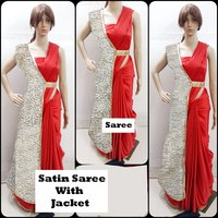 Bollywood Western Satin Saree With Jacket