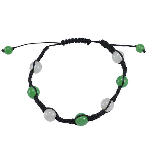 Wholesale- Round Beaded Jaipur Rajasthan India Green Jade & Rose Quartz Adjustable Bracelet Handmade Jewelry Manufacturer