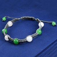 Jaipur Rajasthan India Green Jade & Rose Quartz Adjustable Bracelet Handmade Jewelry Manufacturer With Grey Cord