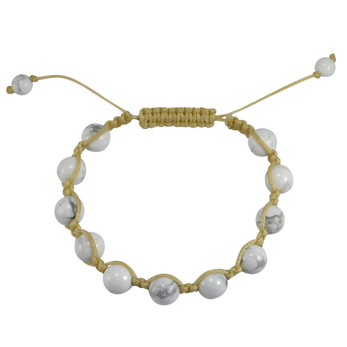 6-8mm Beaded Handmade Jewelry Manufacturer Yellow Cord Howlite Adjustable Bracelet Jaipur Rajasthan India