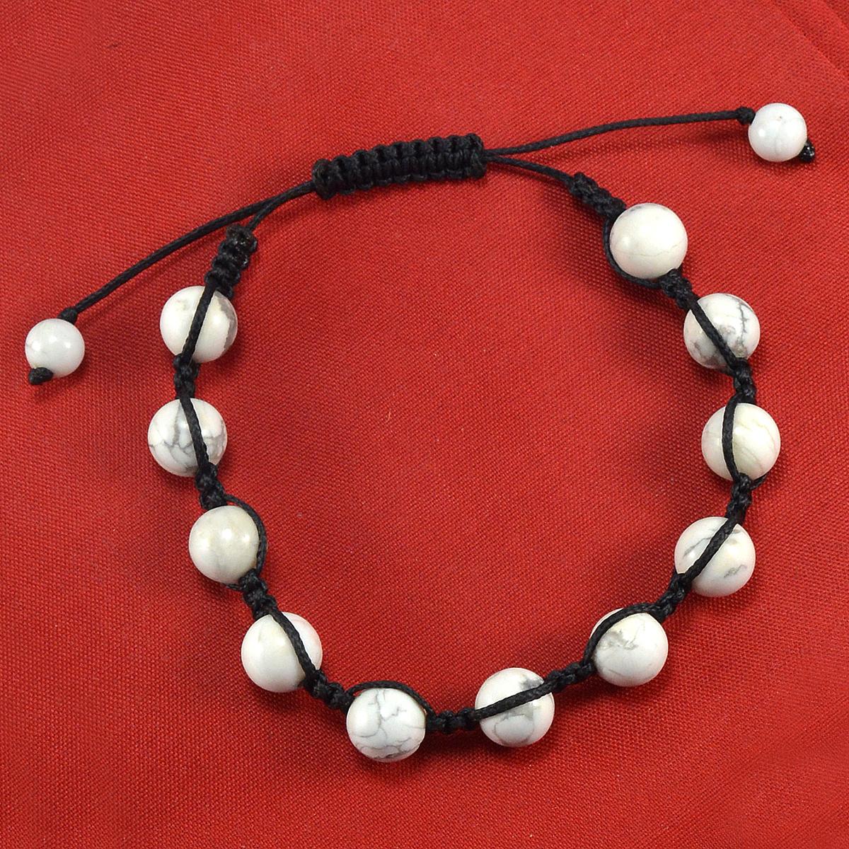 Fantastic- Handmade Jewelry Manufacturer Black Color Cord Howlite Adjustable Jaipur Rajasthan India Bracelet