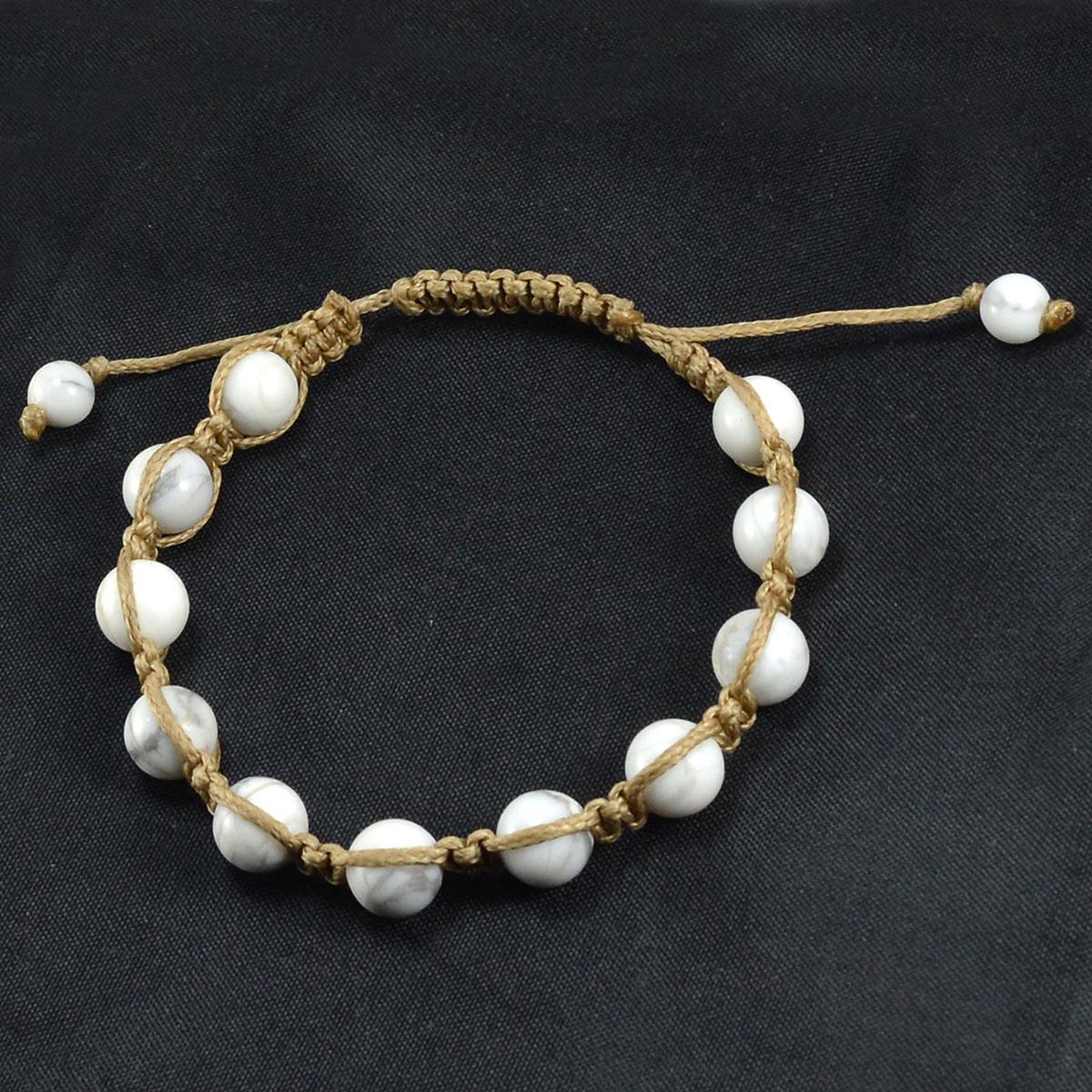 Handmade Jewelry Manufacturer Howlite Adjustable Shamballa Bracelet With Jaipur Rajasthan India Brown Cord