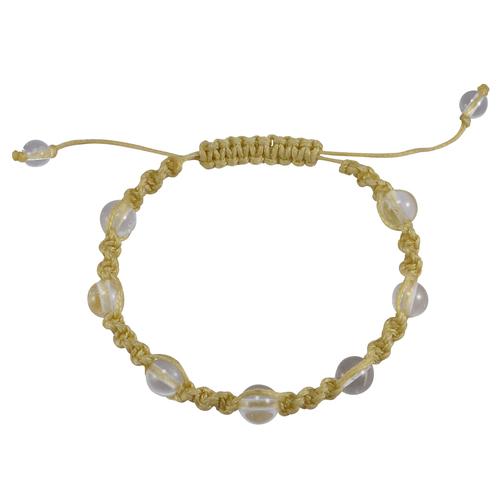 Jaipur Rajasthan India Yellow Cord 6-8mm Beads Crystal Quartz Shamballa Adjustable Bracelet Handmade Jewelry Manufacturer