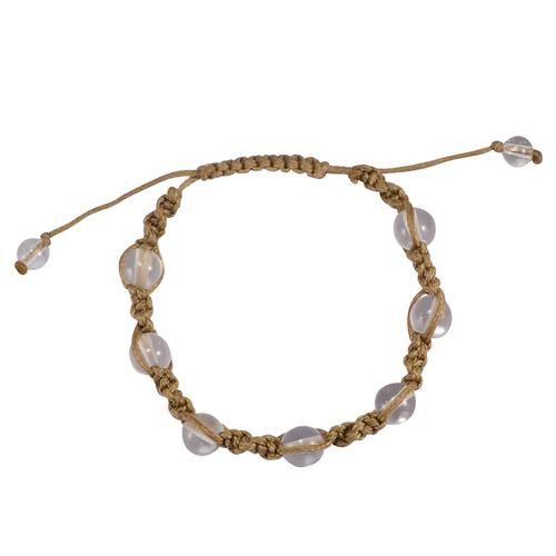 Jaipur Rajasthan India Brown Cord With White Beaded Crystal Quartz Shamballa Bracelet Handmade Jewelry Manufacturer