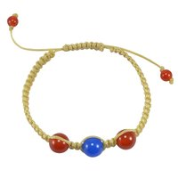 6-10mm Beaded Handmade Jewelry Manufacturer Carnelian & Blue Chalcedony Yellow Cord Bracelet Jaipur Rajasthan India