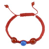 Jaipur Rajasthan India 2 Tone Color Stone Carnelian & Blue Chalcedony Adjustable Bracelet Handmade Jewelry Manufacturer
