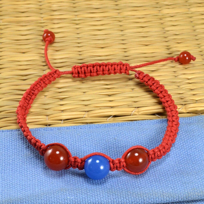 Jaipur Rajasthan India 2 Tone Color Stone Carnelian & Blue Chalcedony Adjustable Bracelet Handmade Jewelry Manufacturer
