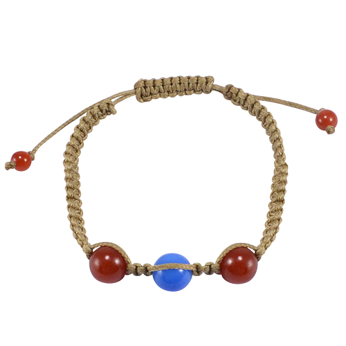 Handmade Jewelry Manufacturer Round Beaded Carnelian & Blue Chalcedony Bracelet Jaipur Rajasthan India With Brown Cord