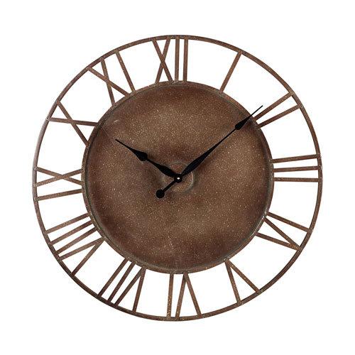 Round Brown Roman Wall Clock