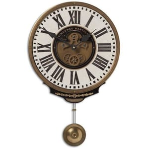Brass Roman Clock With Hanging Bell