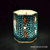 Blue Mosaic Glass Candle Holder