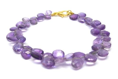 Natural Amethyst Pear Shape beaded bracelet