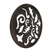 Round Carved Wooden Wall Panel