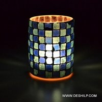 Beautiful Blue Mosaic Glass Candle Holder